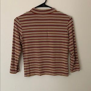 Striped cropped 3/4 sleeve turtle neck